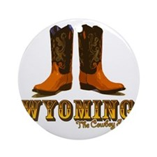 Wyoming: The Cowboy State Round Ornament