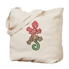 Ethnic Lizard Red Green Tote Bag