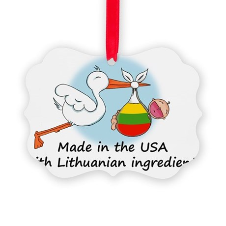 stork baby lith 2 Picture Ornament