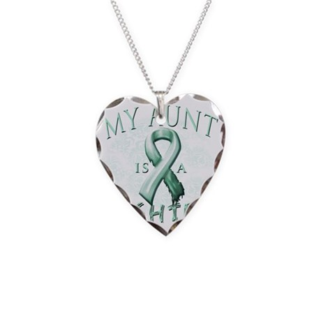 My Aunt is a Fighter Teal Necklace Heart Charm
