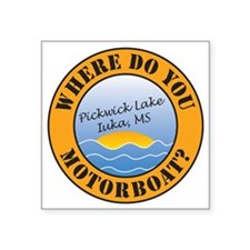 "where do you motorboat logo Square Sticker 3"" x 3"""