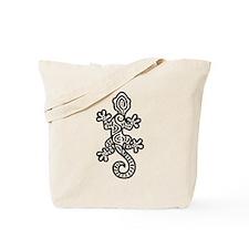 Ethnic Lizard Black Tote Bag