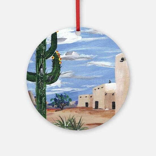 adobe and cactus Round Ornament