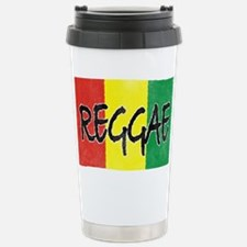 Reggae flag burlap crush-faded Travel Mug