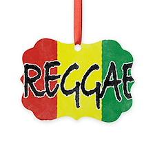 Reggae flag burlap crush-faded Ornament