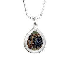 FIN-bulldog-watercolor-O Silver Teardrop Necklace