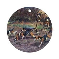 Beagle Painting Round Ornament