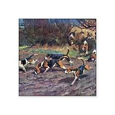 "Beagle Painting Square Sticker 3"" x 3"""