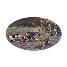 Beagle Painting Oval Car Magnet