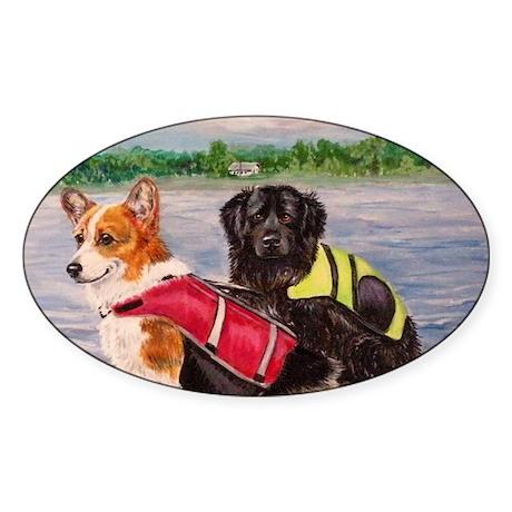Kayaking dogs Sticker (Oval)