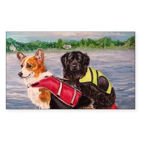 Kayaking dogs Sticker (Rectangle)
