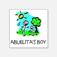 "abuelitas boy stick figure Square Sticker 3"" x 3"""