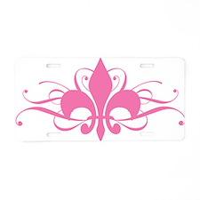 fleur-de-lis-swirls_pink Aluminum License Plate