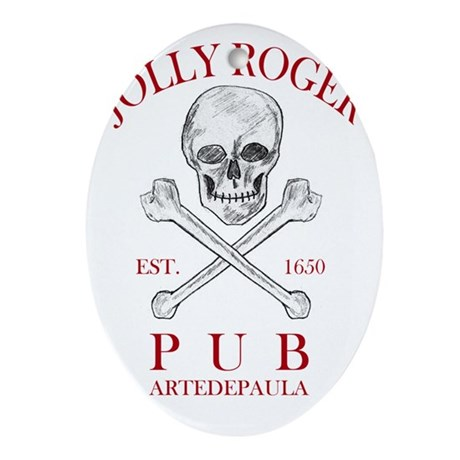 2-jollyrogerpub Oval Ornament