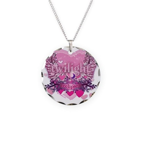 Twilight Eclipse Pink Wings Necklace Circle Charm