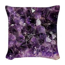 Amethyst crystal Woven Throw Pillow