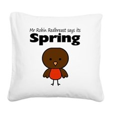 Robin Redbreast Spring Square Canvas Pillow