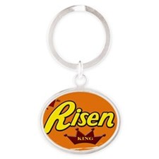 Risen Jesus Reeses style Easter shir Oval Keychain
