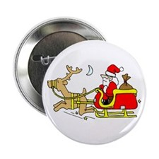 "Funny Santa in Sleigh 2.25"" Button"