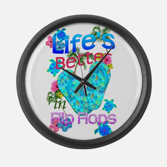 Life Is Better In Flip Flops Large Wall Clock