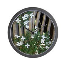 Flowers on Wood Wall Clock