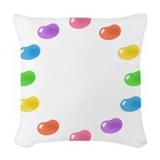 12_jelly_beans01circle Woven Throw Pillow