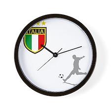 italian soccer(blk) Wall Clock