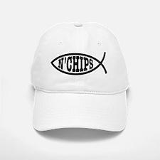 fish_bk_oval_sticker Baseball Baseball Cap