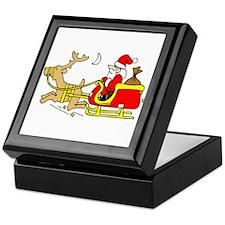 Funny Santa in Sleigh Keepsake Box