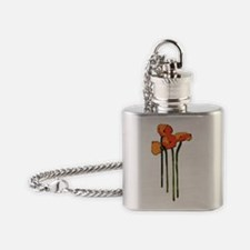 uolargepoppiescard Flask Necklace
