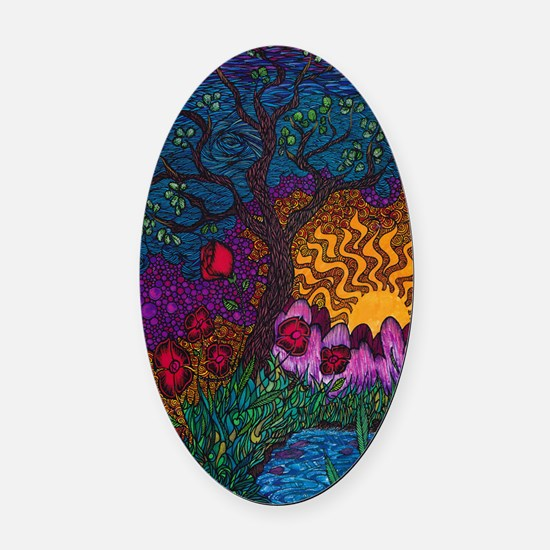 Tree by Christopher Blosser Oval Car Magnet