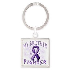 My Brother Is A Fighter Purple Square Keychain