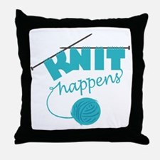 3-Knithappensedit Throw Pillow