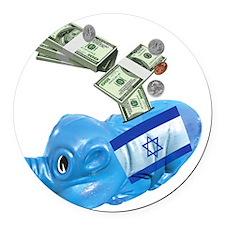 israel-piggy-bank-t-shirt Round Car Magnet
