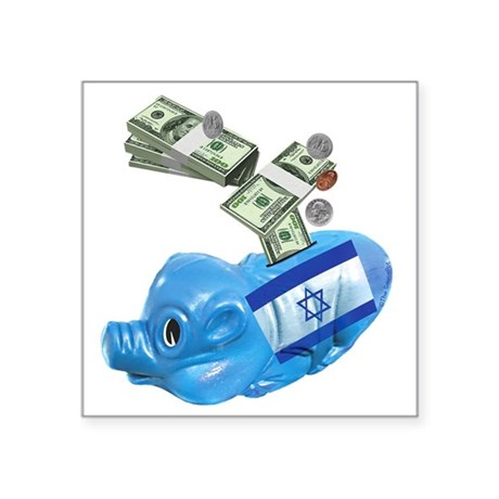 "israel-piggy-bank-t-shirt Square Sticker 3"" x 3"""