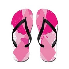 Pink Ribbon Abstract Design Flip Flops