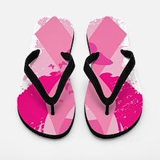 Pink Ribbon Abstract Design Flip Flops