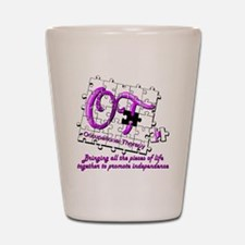ot puzzle purple Shot Glass