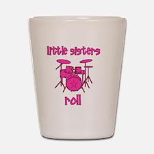 drums_pink_brown_littlesistersroll Shot Glass