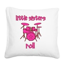 drums_pink_brown_littlesister Square Canvas Pillow