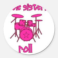 drums_pink_brown_littlesistersrol Round Car Magnet