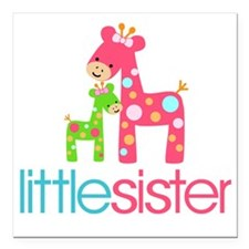 "funky giraffe little sis Square Car Magnet 3"" x 3"""