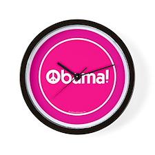 2-btn-obamapeace-pink Wall Clock