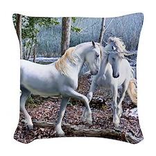 Unicorn Reuion Woven Throw Pillow