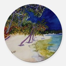 peaceful_beach Round Car Magnet