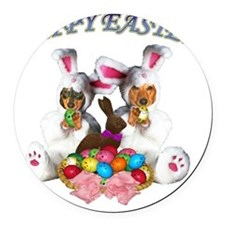 easter dogs doxies copy Round Car Magnet