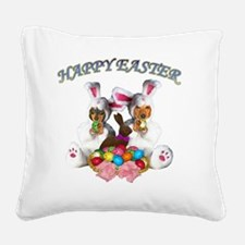 easter dogs doxies copy Square Canvas Pillow