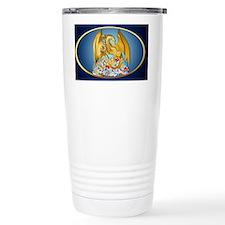 Big Gold Dragon and Globe-oval_ Travel Mug