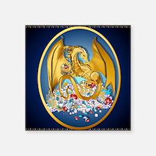 """Big Gold Dragon and Globe O Square Sticker 3"""" x 3"""""""