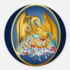 Big Gold Dragon and Globe Oval_pi Round Car Magnet